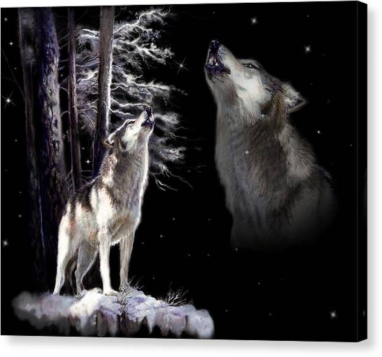 Howling Wolves Canvas Print - Wolf  Howling Memory by Regina Femrite