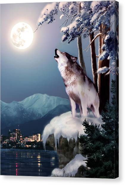 Howling Wolves Canvas Print - Wolf On The Doorstep Of Civilization  by Regina Femrite