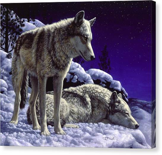 Night Canvas Print - Wolf Painting - Night Watch by Crista Forest