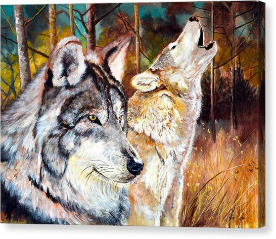 Howling Wolves Canvas Print - Wolf Pair 2 by Alvin Hepler