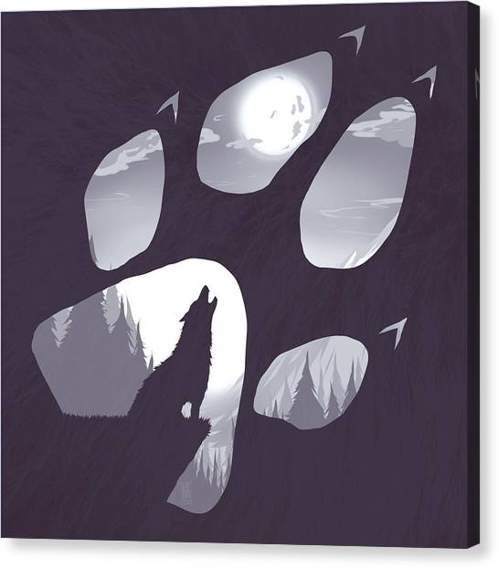 Moon Canvas Print - Wolf Paw by Daniel Hapi