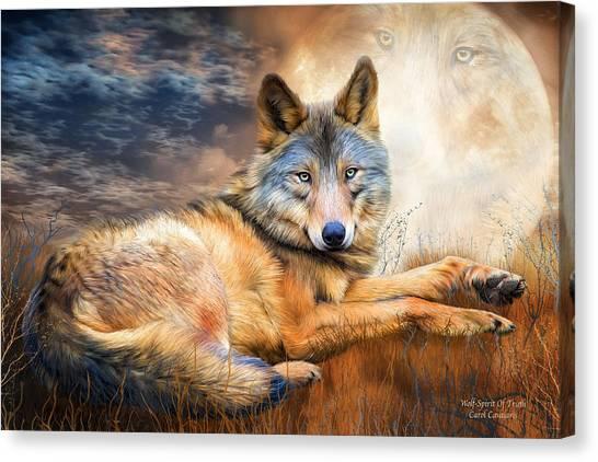 Wolf Moon Canvas Print - Wolf - Spirit Of Truth by Carol Cavalaris