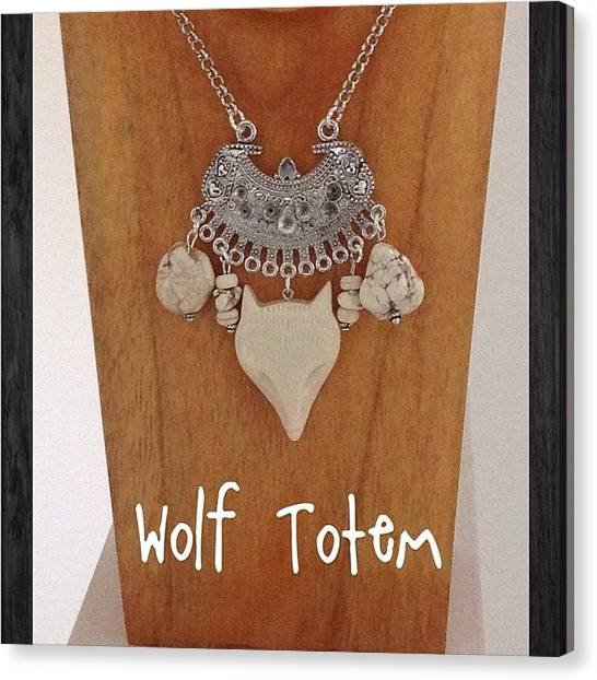 Gemstones Canvas Print - Wolf Totem Necklace - Handcarved Bone by Shikoba Photography