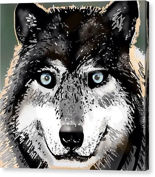 Wolves Canvas Print - #wolf #wolfds2 #drawsomethingfanatics by David Burles
