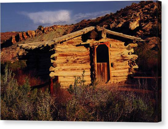 Log Cabin Canvas Print - Wolfe Ranch Cabin, Arches National by Michel Hersen