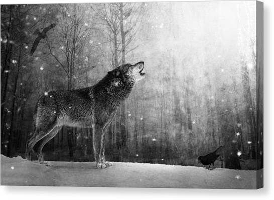Howling Wolves Canvas Print - Wolfheart by Marc Huebner