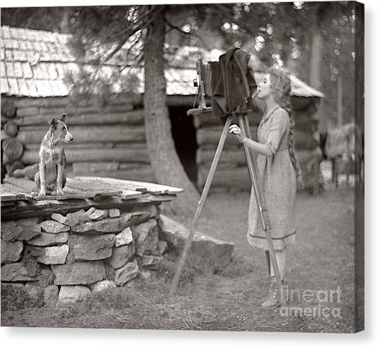 Woman And View Camera 1910 Canvas Print by Martin Konopacki Restoration