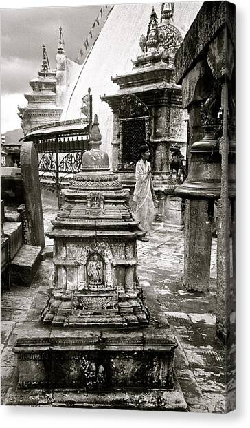 Woman At Swayambhu Canvas Print
