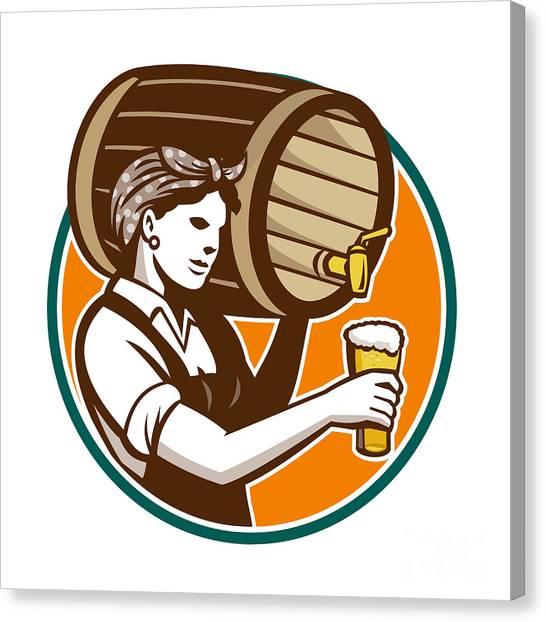 Pint Glass Canvas Print - Woman Bartender Pouring Keg Barrel Beer Retro by Aloysius Patrimonio