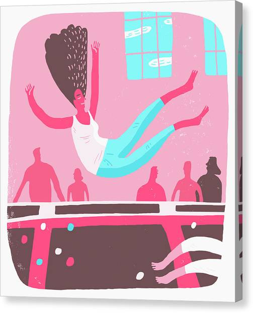 Trampoline Canvas Print - Woman Bouncing On Trampoline by Ikon Images