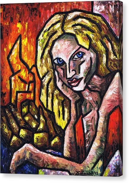 Night Caps Canvas Print - Woman By The Fire by Kamil Swiatek