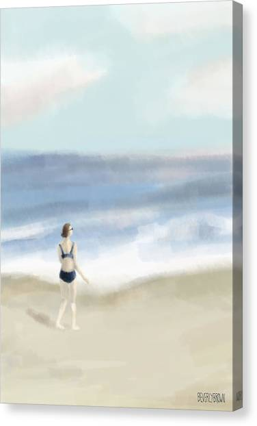 Laundry Canvas Print - Woman By The Sea by Beverly Brown Prints