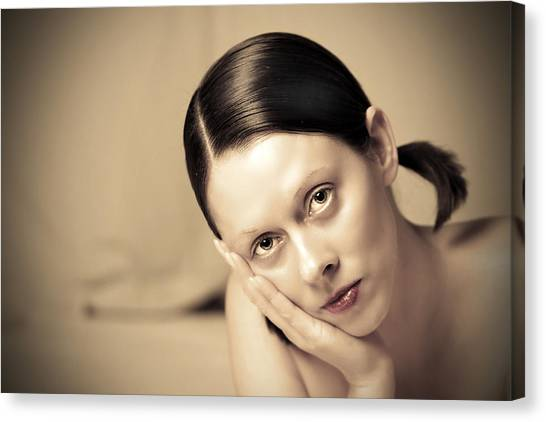 Canvas Print - Woman Deep In Thought by Fizzy Image
