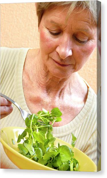 Salad Canvas Print - Woman Eating Salad by Aj Photo/science Photo Library