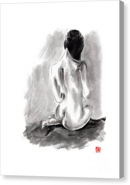Nude Asian Canvas Print - Woman Geisha Erotic Act Beautiful Girl  Japanese Ink Painti by Mariusz Szmerdt