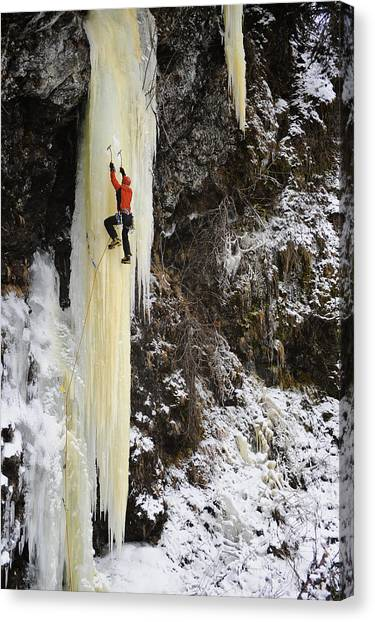 Ice Climbing Canvas Print - Woman Ice Climber Ascends A Large by Matt Hage