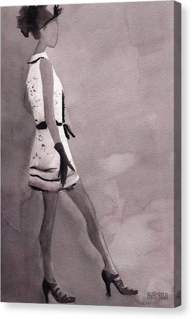 Black And White Art Canvas Print - Woman In A Black And White Mini Dress Fashion Illustration Art Print by Beverly Brown