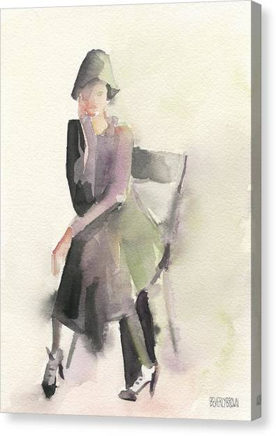 Abstract Portrait Canvas Print - Woman In A Cloche Hat Watercolor Fashion Illustration Art Print by Beverly Brown Prints