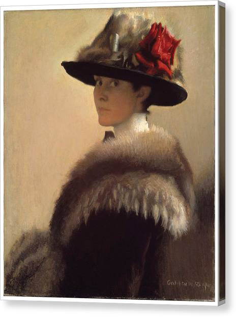 Woman In A Fur Hat Canvas Print by Gretchen Woodman Rogers
