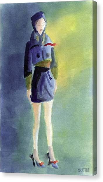 Navy Blue Canvas Print - Woman In A Pillbox Hat Fashion Illustration Art Print by Beverly Brown Prints