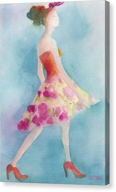 Pink Canvas Print - Woman In A Pink Flowered Skirt Fashion Illustration Art Print by Beverly Brown Prints