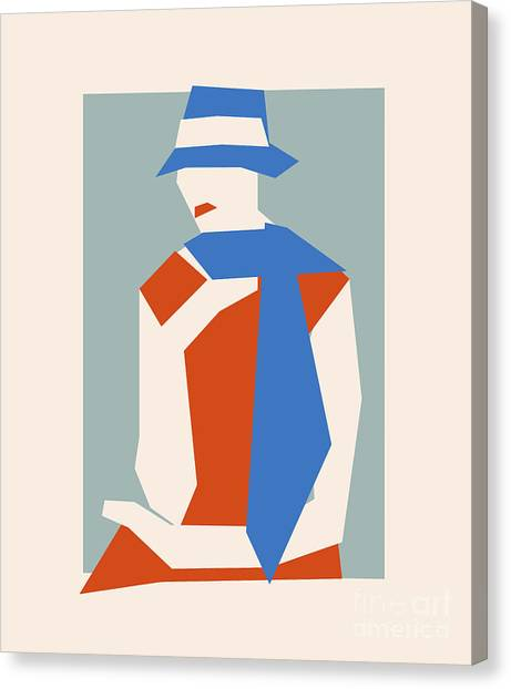 Suprematism Canvas Print - Woman In Blue Hat by Igor Kislev