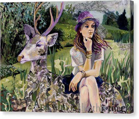 Woman In Hat Dreams With Stag Canvas Print
