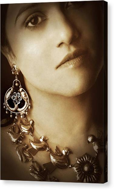 Woman In Mexican Silver Jewelry Canvas Print