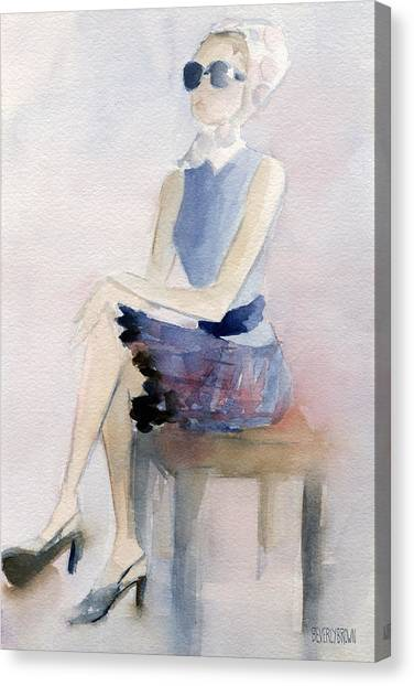 Brown Canvas Print - Woman In Plaid Skirt And Big Sunglasses Fashion Illustration Art Print by Beverly Brown