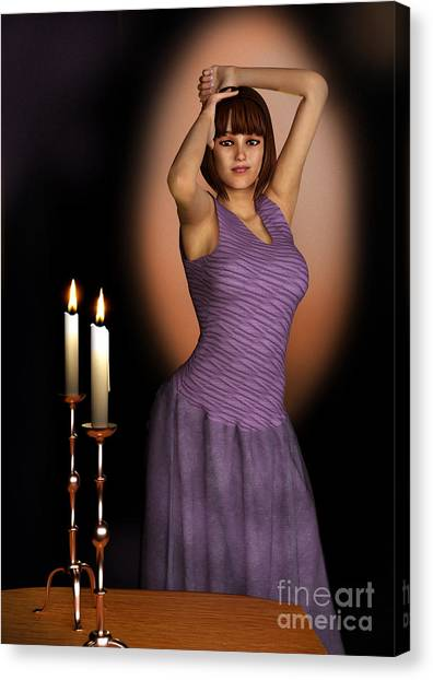 Woman In Purple Gown With Candles Canvas Print