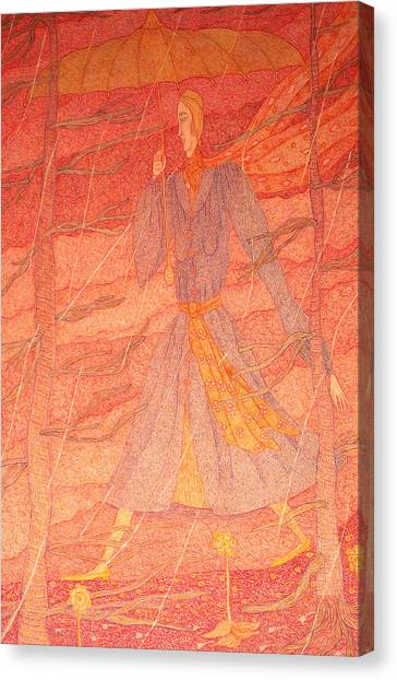 Woman In The Rain Canvas Print by Eleanor Arbeit