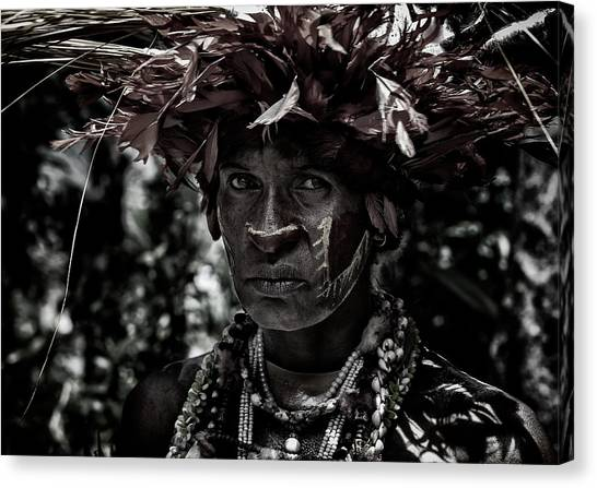 Necklace Canvas Print - Woman In The Sing-sing Festival Of Mt Hagen - Papua New Guinea by Joxe Inazio Kuesta