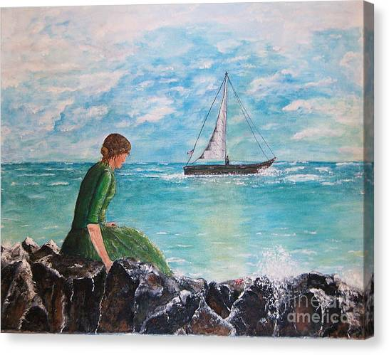 Woman Looking Out To Sea Canvas Print