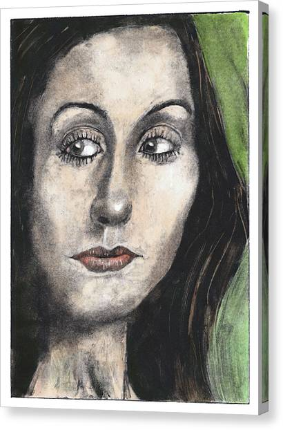 Woman Looking Suspicious Canvas Print by Ben Killen Rosenberg