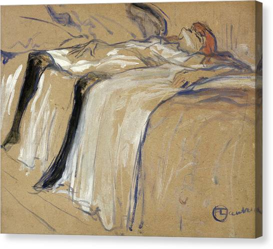 Nightgown Canvas Print - Woman Lying On Her Back by Henri de Toulouse Lautrec