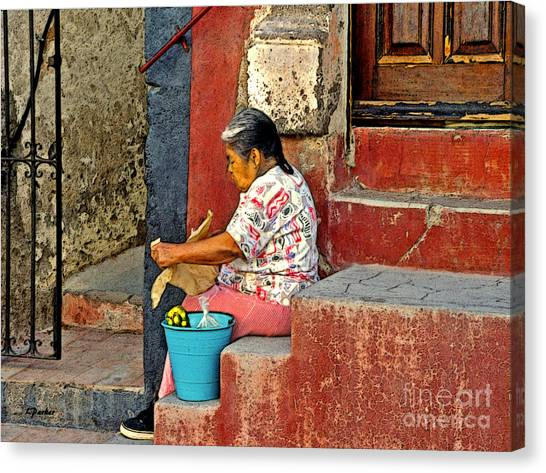 Woman Of Colonial Mexico Canvas Print by Linda  Parker