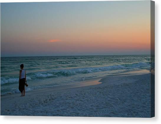 Woman On Beach At Dusk Canvas Print