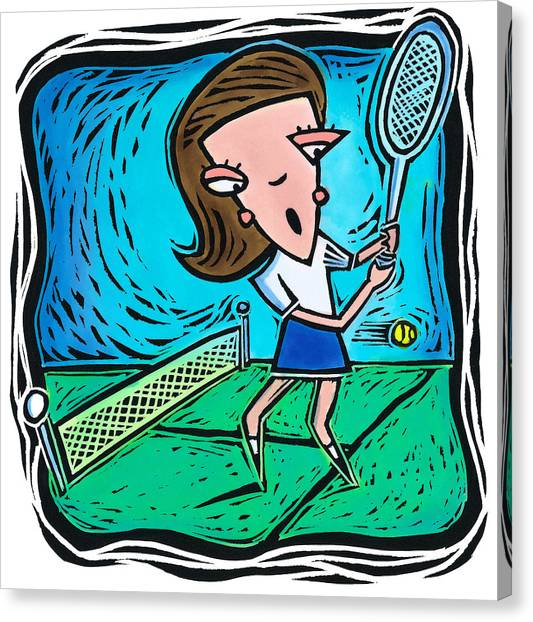 Woman Playing Tennis Canvas Print by Jannine Cabossel