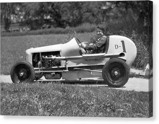 Racecar Drivers Canvas Print - Woman Race Car Driver by Underwood Archives