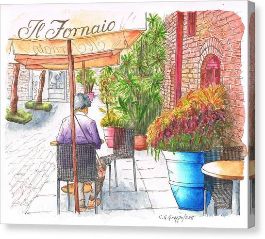 Woman Reading A Newspaper In Il Fornaio In Pasadena, California Canvas Print