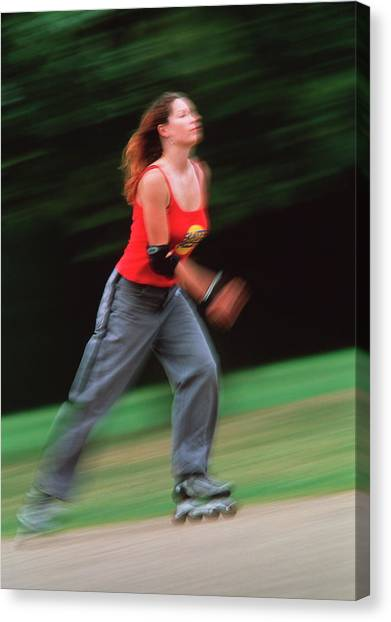 Rollerblading Canvas Print - Woman Rollerblading by Matthew Munro/science Photo Library