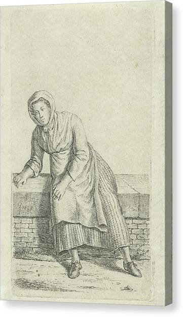 Woman Sitting On A Wall, Anthonie Willem Hendrik Nolthenius Canvas Print by Quint Lox