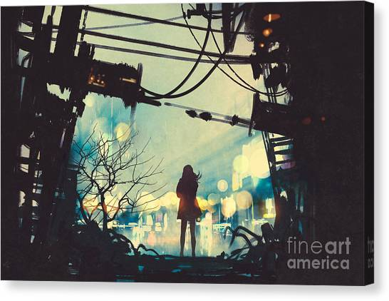 Concept Canvas Print - Woman Standing Among Old Ruins Looking by Tithi Luadthong