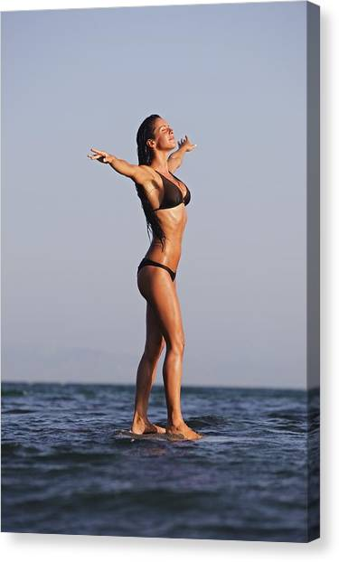 Bodyboard Canvas Print - Woman Standing On The Water by Ben Welsh