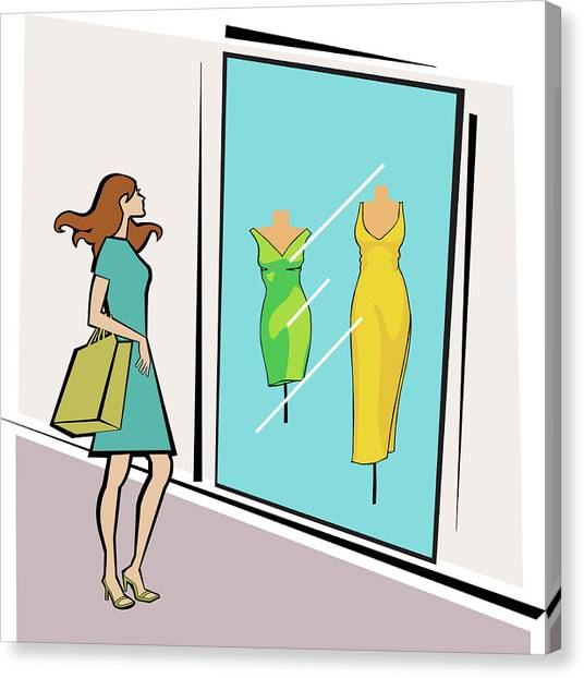 Clothing Store Canvas Print - Woman Standing Outside A Clothing Store by Fanatic Studio / Science Photo Library