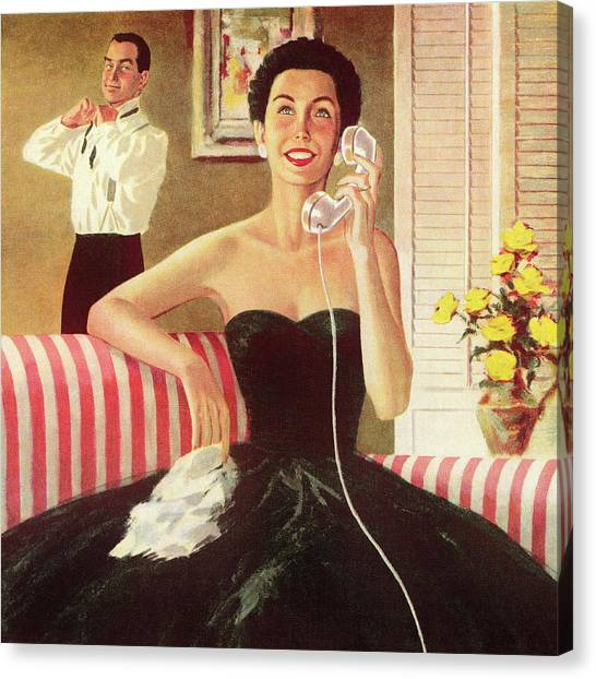Woman Talking On The Telephone Canvas Print