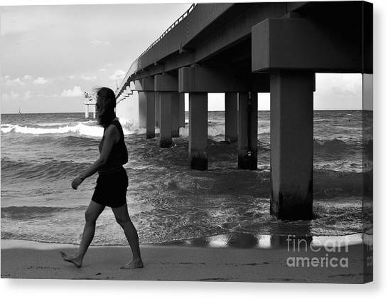 Woman Walking Canvas Print by Andres LaBrada