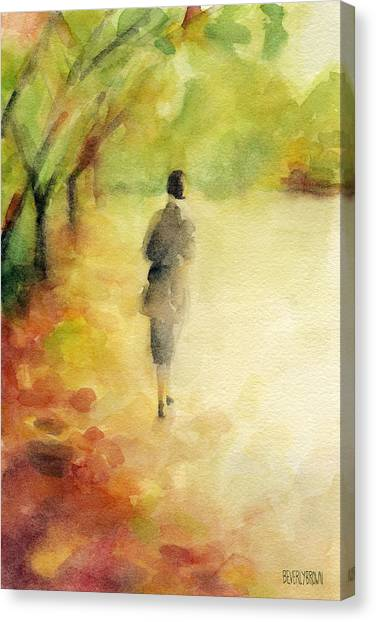 Brown Canvas Print - Woman Walking Autumn Landscape Watercolor Painting by Beverly Brown Prints