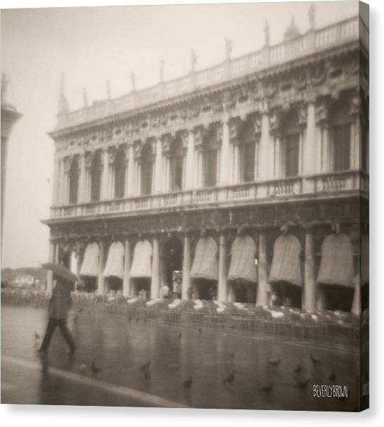 San Marco Canvas Print - Woman Walking In The Rain by Beverly Brown Prints