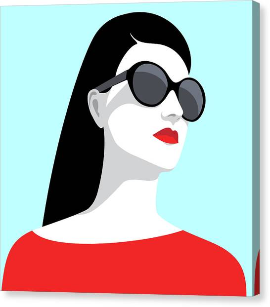 Woman Wearing Sunglasses Canvas Print